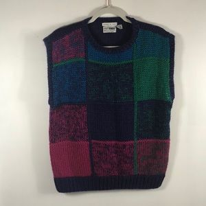 vTg chunky knit plaid sweater purple multicolored